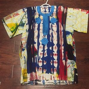 Multicolored Traditional African Print Dashiki